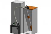 Технические решения FireTecno: 1 – загрузка пеллет сверху